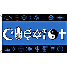 Coexist Flag 5Ft X 3Ft World Peace Religion Religious Banner With 2 Eyelets New