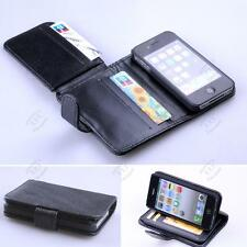 NUOVO Porta carte di credito Wallet FLIP Pelle Custodia Cover per Apple iPhone 4/4s Nero