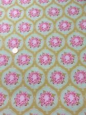 "Tilda Pink Green Mustard Floral 100% Quilting Craft Cotton Fabric 56"" Wide"
