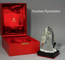 MASSIVE NEW in RED BOX STEUBEN glass PYRAMIDON CRYSTAL prism SCULPTURE BASE MCM