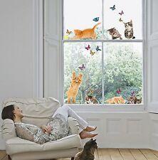 Fenstersticker Fensterfolie Fenster Aufkleber Katzen Kätzchen Schmetterlinge