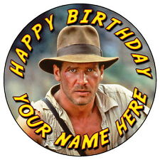 "INDIANA JONES TEMPLE OF DOOM - 7.5"" PERSONALISED ROUND EDIBLE ICING CAKE TOPPER"