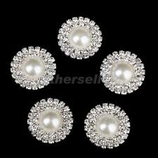 5pcs Crystal Diamante Beige Pearl Round Button Flatback Embellishment 25mm
