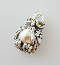 Sterling Silver Owl Feather Embossed Pendant Charm Hallmarked