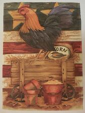 Primative Patriotic Rooster by the Corn & feed bucket decorative Garden flag