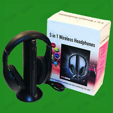 Wireless 5 In 1 Bass Headphones, Built In Microphone, Monitor, Radio Wired 3.5mm