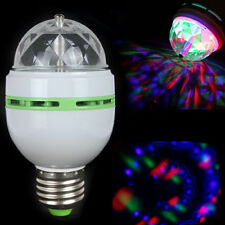 E27 E26 3W Colorful Auto Rotating RGB LED Bulb Stage Light Party Lamp Disco