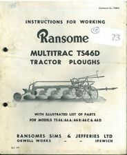 Ransomes TS46D Multitrac Tractor Plough Operators Manual and Parts List