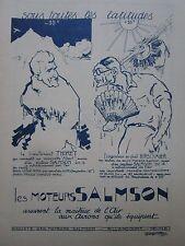 1927-1928 PUB MOTEUR SALMSON AVION GEORGES VILLA THORET HIRSCHAUER ORIGINAL AD