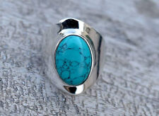 SOLID STERLING SILVER BIG NEPALI TIBETAN TURQUOISE SILVER RING SIZE 5 6 7 8 9 10