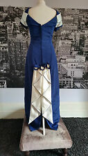 Red Carpet Vintage look Gown (Blue + Ivory) Prom, Ball, Pageant, Bridesmaid etc