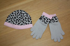 NWOT Hanna Andersson Leopard Pink/Gray Hat + matching gloves-S (Age 1-3) Cotton