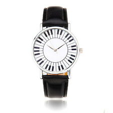 Casual Women Music Piano Keyboard Pattern PU Leather Quartz Wrist Watch
