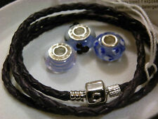 BNWB GENUINE CHAMILIA TRIPLE LEATHER STARTER BRACELET & CHARMS -SIZE SMALL- XMAS