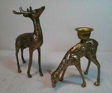Vintage Pair of Solid Brass Deer Buck & Doe Figurines / Candle Holders