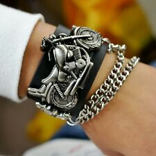 Retro Skull Motorcycle Biker Punk Leather Bracelet Mens Sport Quartz Wrist Watch