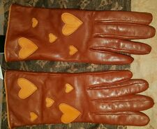 NEW $250 MOSCHINO HEARTS BROWN LEATHER GLOVES ANGORA WOOL LINING sz 8