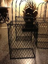 4 POTTERY BARN WIRE BASKETS NEW IN BOX , BATHROOM,KITCHEN,PATIO