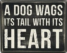 Wall Decor Box Sign A Dog Wags its Tail With its Heart Pet Lover Animal  #844
