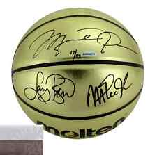 Michael Jordan, Magic Johnson, Larry Bird Signed Molten Gold NBA Basketball UDA