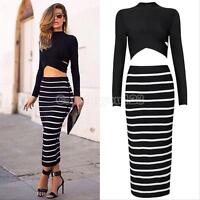 Womens Crop Top Skirt Set Sexy Long Sleeve Two-piece Bodycon Bandage Midi Dress