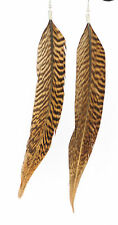 Long Natural Feather Earrings Animal Stripe Patten