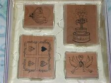 CREATE AND CRAFT RUBBER STAMP SET of 4 WEDDING CAKE DOVES HEARTS & DRESS WOOD