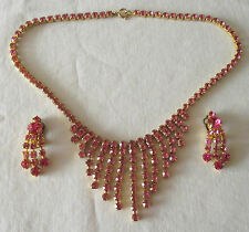 Beautiful Sparkling Necklace & Clip On Earrings with Pink Paste Stones