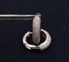 Diamonique CZ Micro Pave Huggie Oval Hoop Earrings Sterling Silver 925