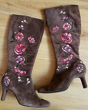 *RARE* Brown Suede Floral Embroidered Boots - UK Size 6 (US 8)