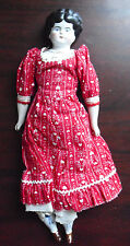 Antique 1880s Porcelain Cloth Germany Ethel Girl Low Brow Character Doll 12 1/2""