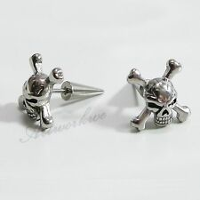 1Pair 3D Skull 316L Stainless Steel Men Earrings Ear Screw Stud Halloween gift