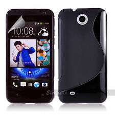 BLACK S CURVE GEL TPU Jelly CASE COVER FOR Telstra HTC  Desire 300