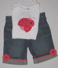 Gymboree Blooming Nautical Outfit 7 Blue Jean Shorts Ladybug Top Shirt Girl NEW