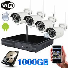 KIT DVR NVR WIRELESS WIFI 4 CANALI CH TELECAMERE HD IR REMOTO ANDROID 1000GB 1TB