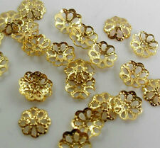 Wholesale 500pcs Silver Gold Plated Metal Filigree Flower Bead Caps Findings 6mm