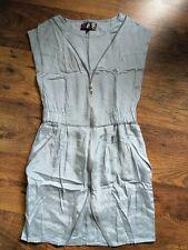 BNWOT River Island Front Zip Pale Blue Silky Dress 8 Pull on Summer Beach