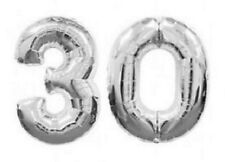 Large Number 30 Silver Balloons 30th Birthday Anniversary Party Foil Decoration