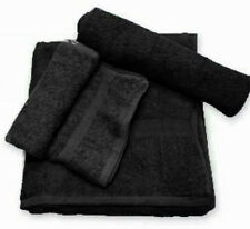 24 (2 DOZEN) NEW BLACK SALON HAND TOWELS DOBBY BORDER RINGSPUN COTTON 16X27 3#