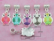 20pcs Silver Tone Owl Dangle Charms Enamel Fit European Charm Bracelet H13