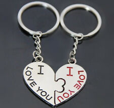 2PC Couple Silver I Love You Heart Keyrings Keychains Key Chains Family Lover UK