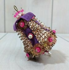 Vintage Christmas Ornament Pink Purple Handmade Beaded Bell Shape Ornament 1970s