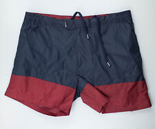 New. ZEGNA SPORT Navy Blue/Red Board Shorts Bathing Suit Trunks Size XXXL $180