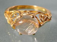 Gold plated brass everyday rutilated quartz stone ring UK M½/US 6.5
