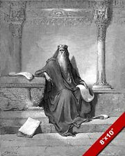 KING SOLOMON IN OLD AGE GUSTAV DORE ENGRAVING ILLUSTRATION ART PRINT ON CANVAS