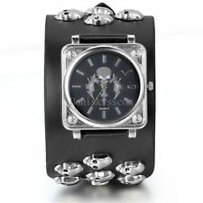 Men's Gothic Wide Leather Strap Cuff Sport Square Skull Sword Cool Wrist Watch