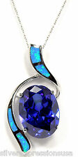 "925 Sterling Silver 18"" Necklace with 9 Carat Tanzanite & Blue Fire Opal Pendant"