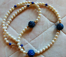 Antique Chinese carved lapis Shou beads, fresh water pearl necklace, 14K accents