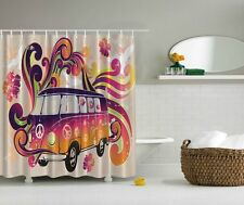 HIPPIE VOLKSWAGON BUS CAR GROOVY PEACE SIGN FLOWERS BIRDS LOVE SHOWER CURTAIN