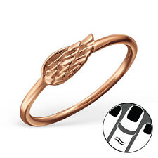 925 Sterling Silver Midi Ring Wing Rose Gold Plated US Size 3.5 Body Jewellery